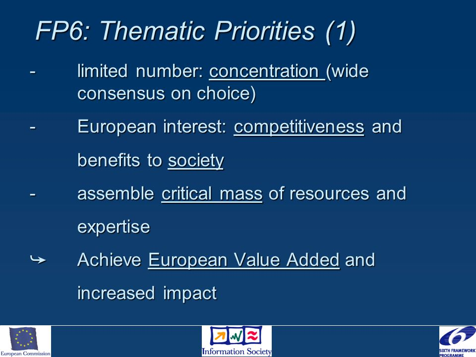 FP6: Thematic Priorities (1) -limited number: concentration (wide consensus on choice) -European interest: competitiveness and benefits to society -assemble critical mass of resources and expertise  Achieve European Value Added and increased impact