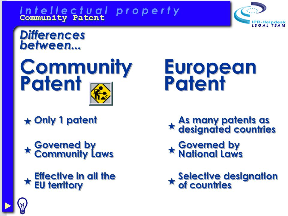 I n t e l l e c t u a l p r o p e r t y Community Patent L E G A L T E A M Differences between...