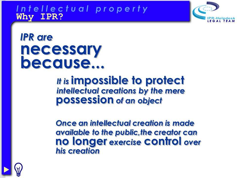 IPR are necessary because...