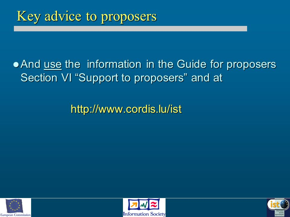 "And use the information in the Guide for proposers Section VI ""Support to proposers"" and at And use the information in the Guide for proposers Section"