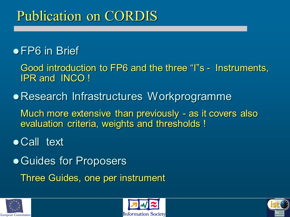 FP6 in Brief FP6 in Brief Good introduction to FP6 and the three I s - Instruments, IPR and INCO .