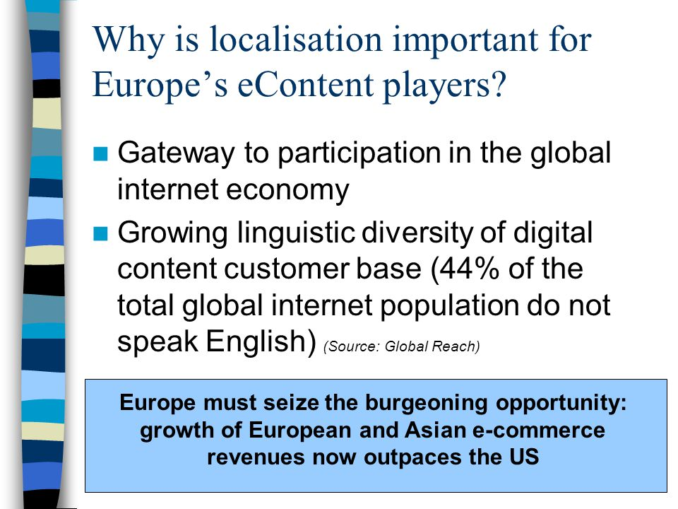 Why is localisation important for Europe's eContent players.