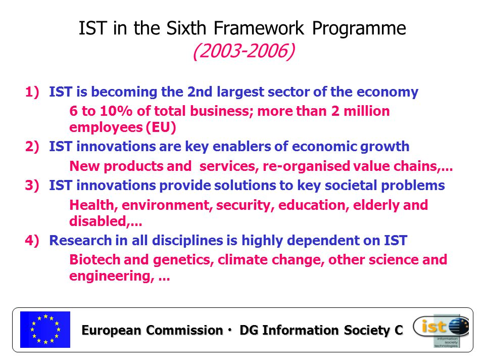 European Commission DG Information Society C IST in the Sixth Framework Programme ( ) 1)IST is becoming the 2nd largest sector of the economy 6 to 10% of total business; more than 2 million employees (EU) 2)IST innovations are key enablers of economic growth New products and services, re-organised value chains,...