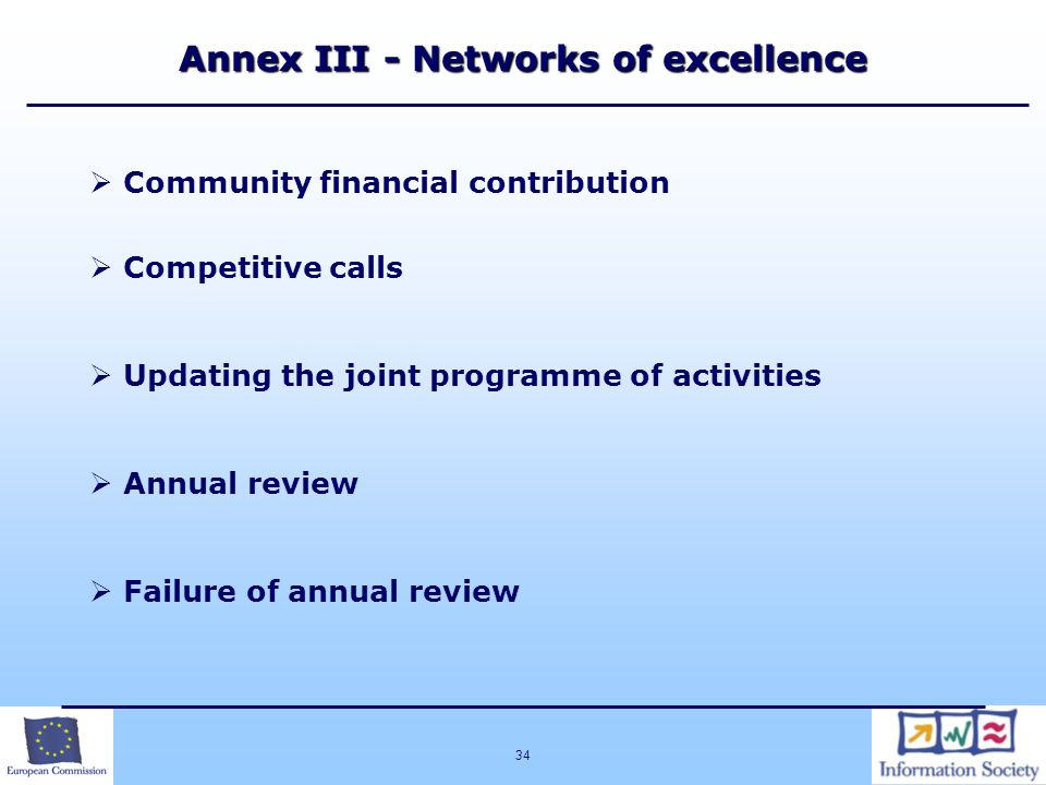 34 Annex III - Networks of excellence  Community financial contribution  Competitive calls  Updating the joint programme of activities  Annual review  Failure of annual review