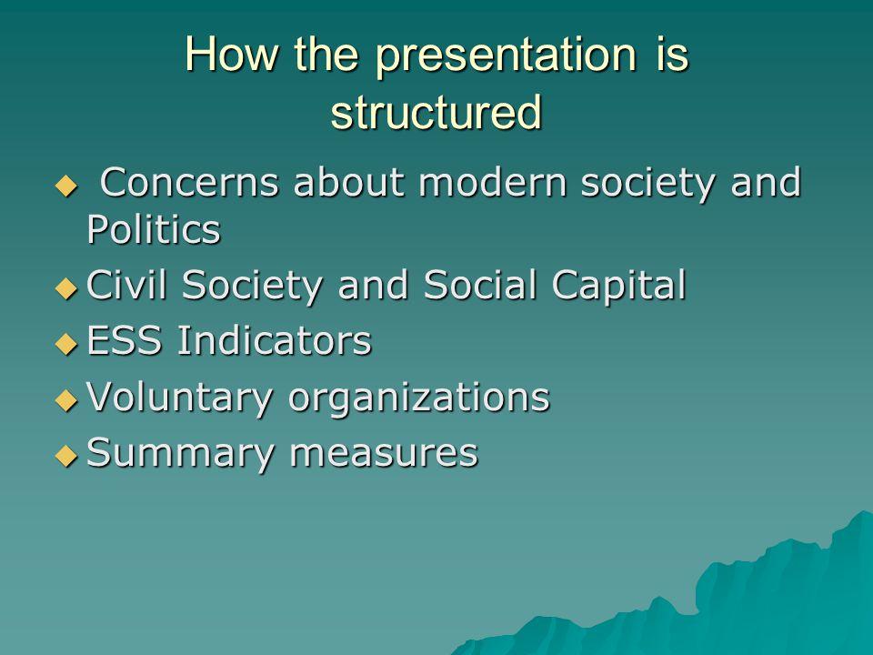 Civil Society and Social Capital Vibrant Civil Society/ Social Capital Weak Civil Society/ Social Capital Strong communities, participation, civic engagement.