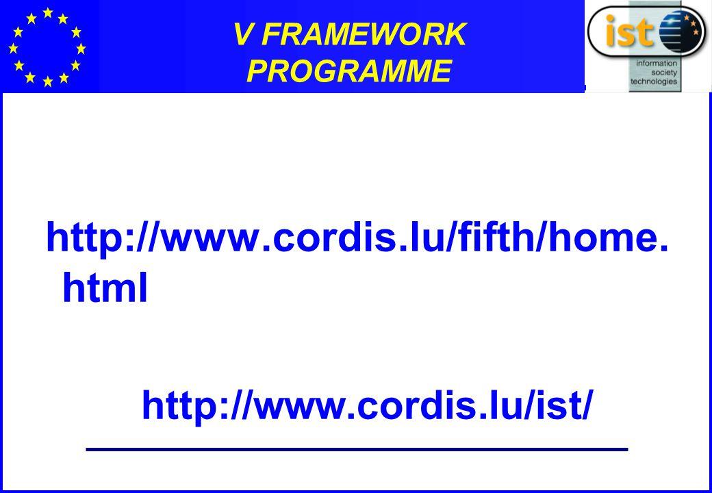 V FRAMEWORK PROGRAMME http://www.cordis.lu/fifth/home. html http://www.cordis.lu/ist/