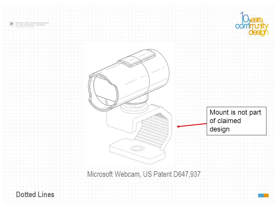 Dotted Lines Microsoft Webcam, US Patent D647,937 Mount is not part of claimed design