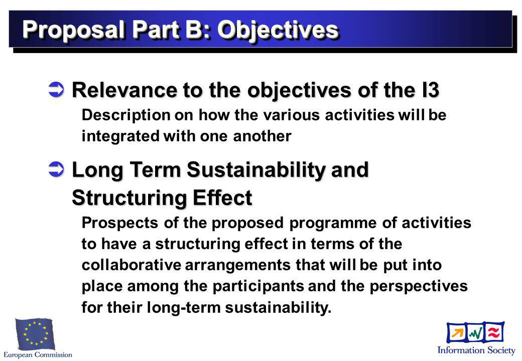 Proposal Part B: Objectives  Relevance to the objectives of the I3 Description on how the various activities will be integrated with one another  Long Term Sustainability and Structuring Effect Prospects of the proposed programme of activities to have a structuring effect in terms of the collaborative arrangements that will be put into place among the participants and the perspectives for their long-term sustainability.