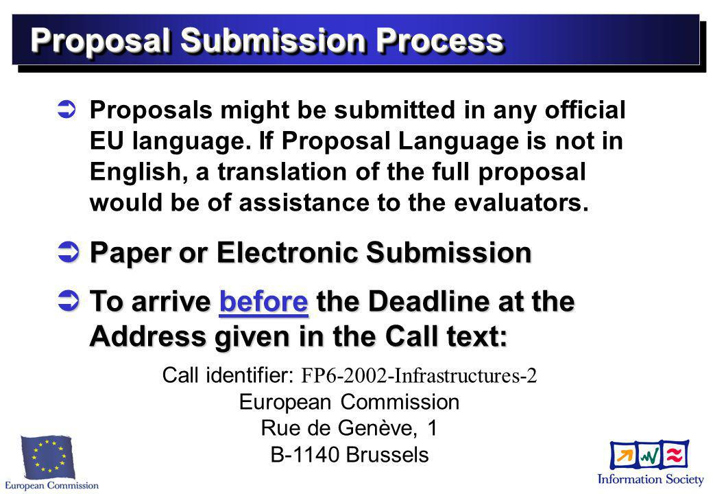 Proposal Submission Process   Proposals might be submitted in any official EU language.