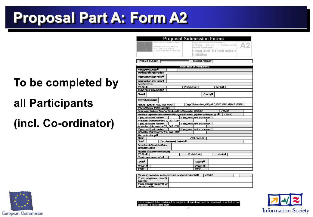Proposal Part A: Form A2 To be completed by all Participants (incl. Co-ordinator)