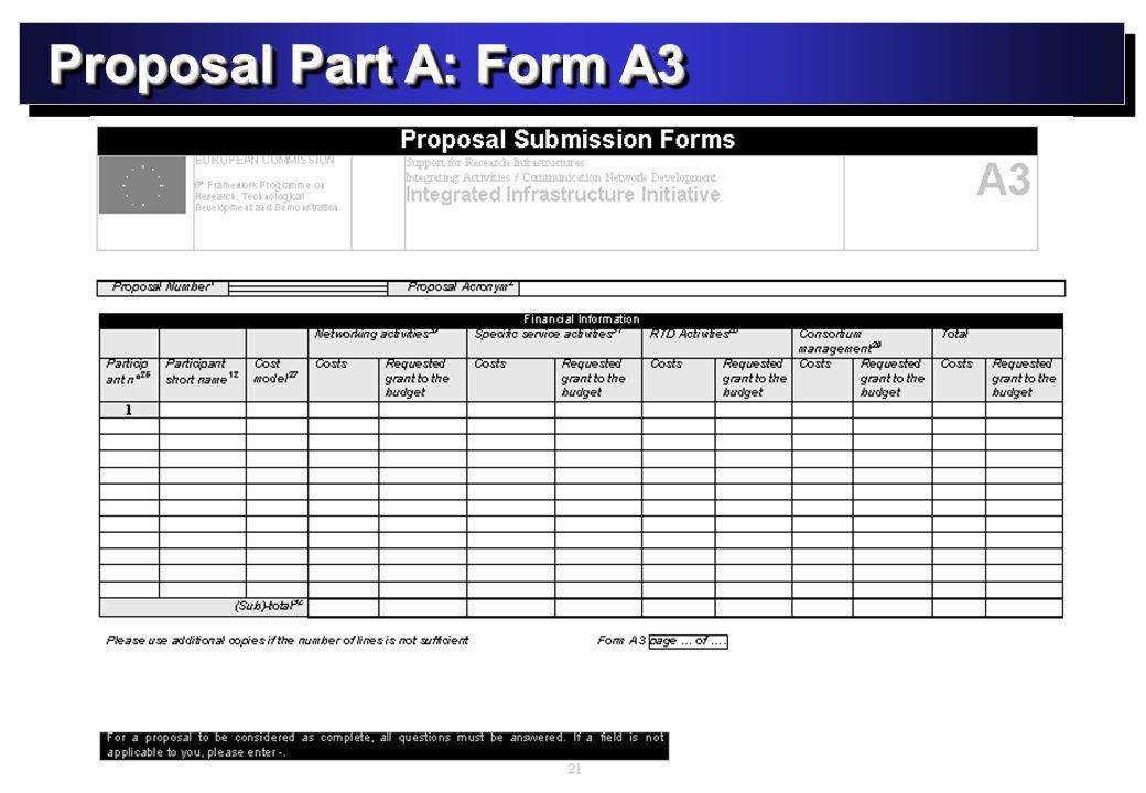 Proposal Part A: Form A3