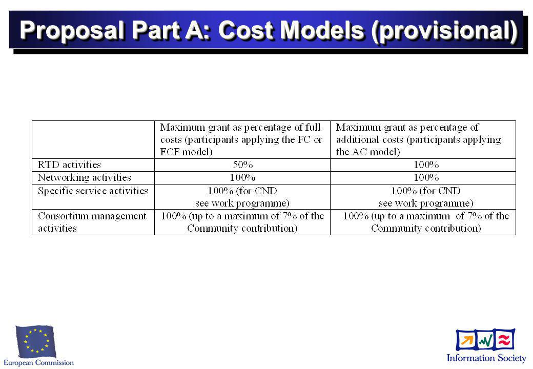 Proposal Part A: Cost Models (provisional)