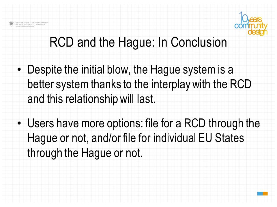 Despite the initial blow, the Hague system is a better system thanks to the interplay with the RCD and this relationship will last. Users have more op