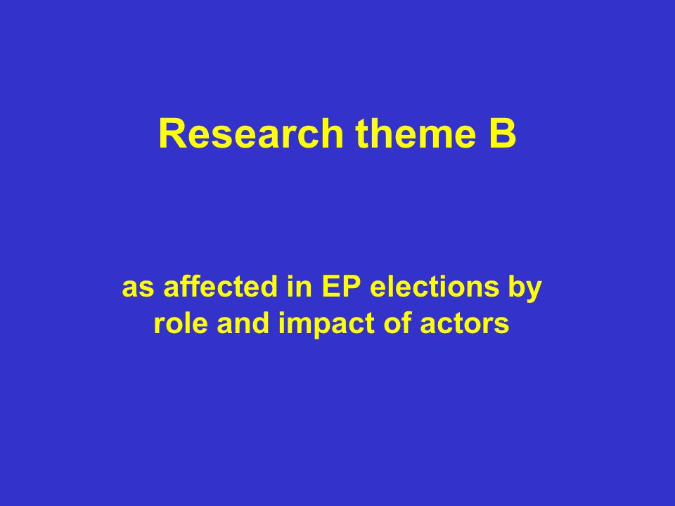 Research theme B as affected in EP elections by role and impact of actors