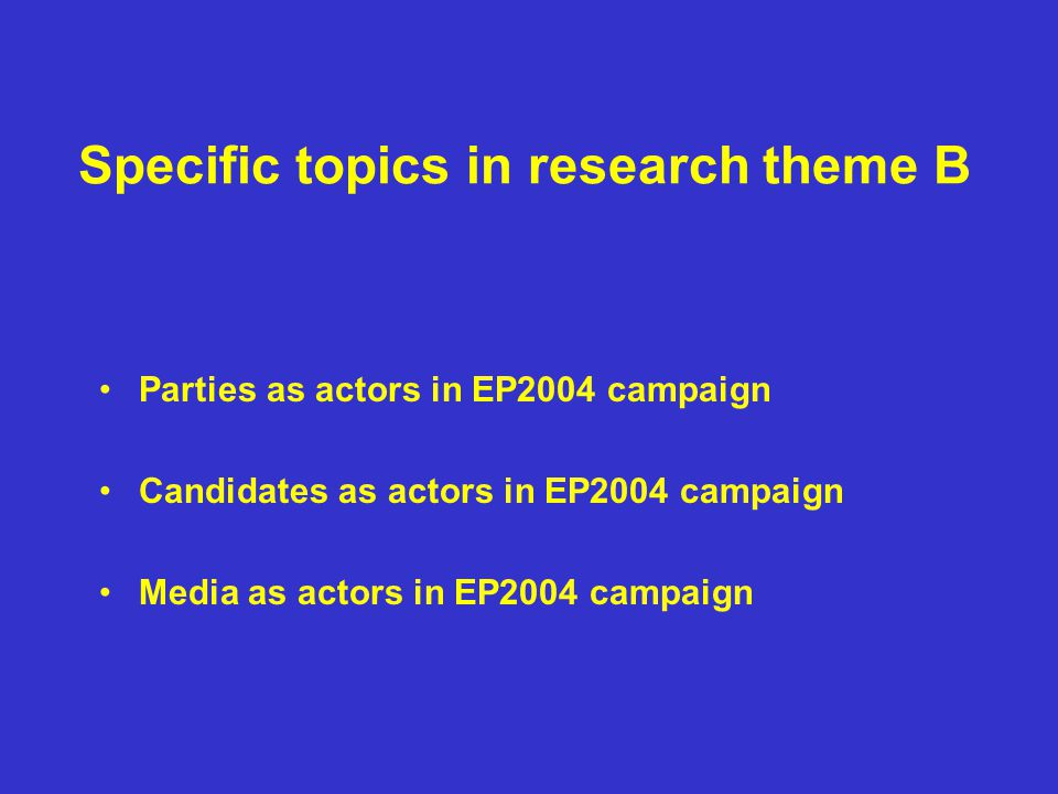 Specific topics in research theme B Parties as actors in EP2004 campaign Candidates as actors in EP2004 campaign Media as actors in EP2004 campaign