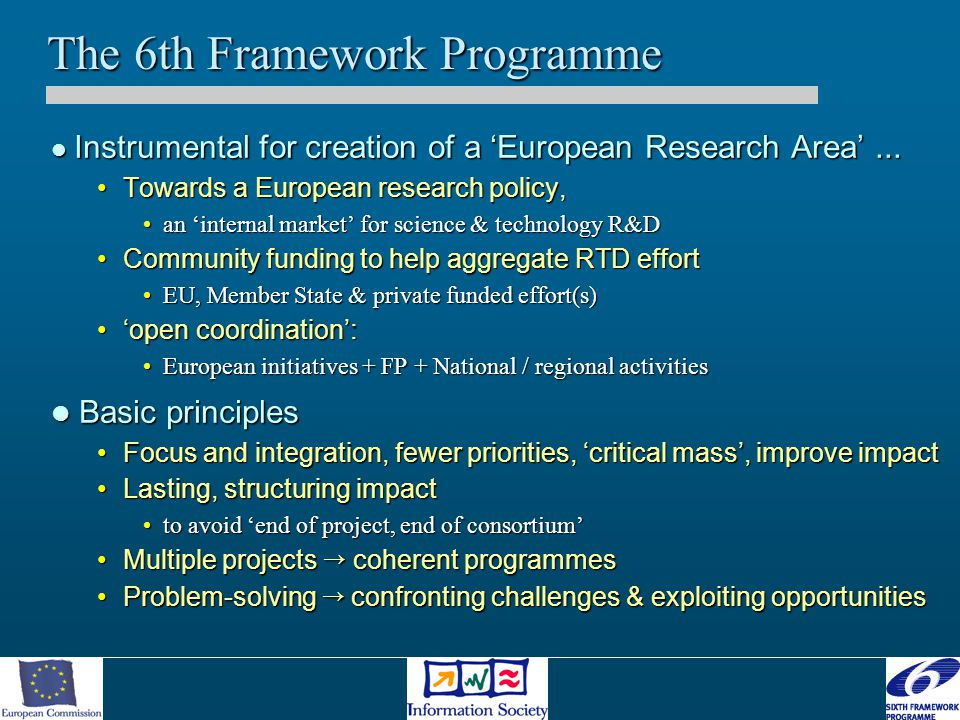 IST Workprogramme - approach A two year WP to ensure concentration of effort and visibility for the research Community A two year WP to ensure concentration of effort and visibility for the research Community More limited number of calls (three over two years) More limited number of calls (three over two years) Concentration on a limited set of « Strategic Objectives » Concentration on a limited set of « Strategic Objectives » –selection and focus based on Europe's options..