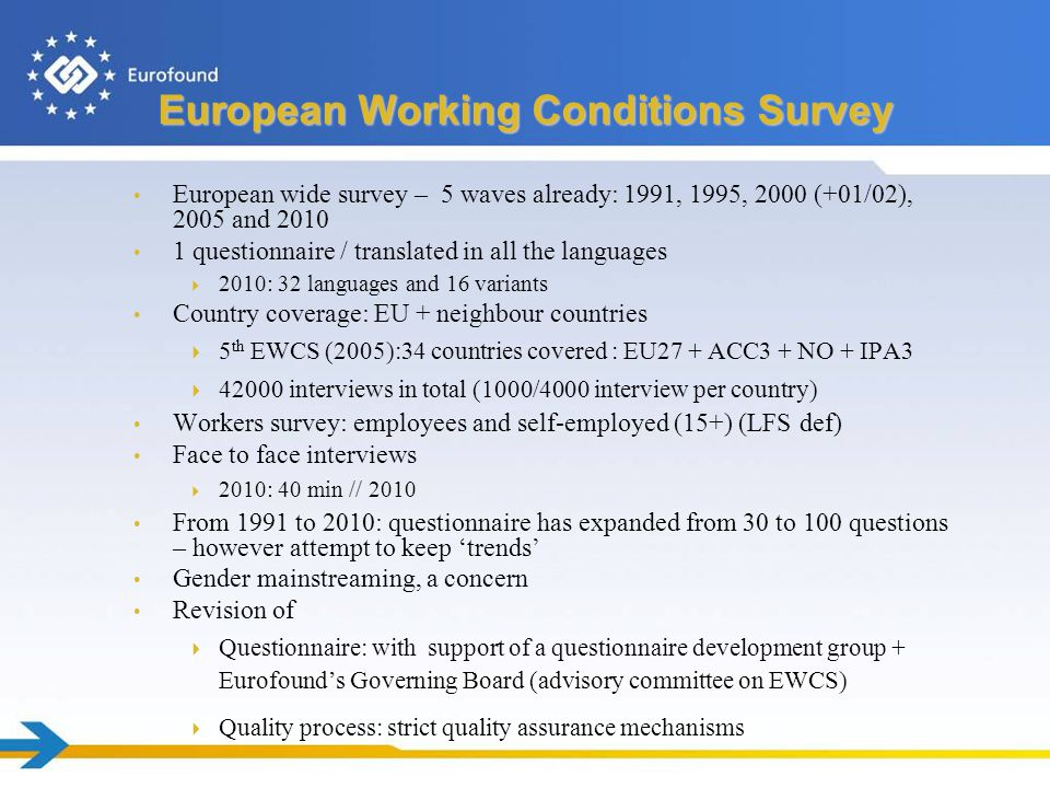 European Working Conditions Survey European wide survey – 5 waves already: 1991, 1995, 2000 (+01/02), 2005 and 2010 1 questionnaire / translated in all the languages  2010: 32 languages and 16 variants Country coverage: EU + neighbour countries  5 th EWCS (2005):34 countries covered : EU27 + ACC3 + NO + IPA3  42000 interviews in total (1000/4000 interview per country) Workers survey: employees and self-employed (15+) (LFS def) Face to face interviews  2010: 40 min // 2010 From 1991 to 2010: questionnaire has expanded from 30 to 100 questions – however attempt to keep 'trends' Gender mainstreaming, a concern Revision of  Questionnaire: with support of a questionnaire development group + Eurofound's Governing Board (advisory committee on EWCS)  Quality process: strict quality assurance mechanisms
