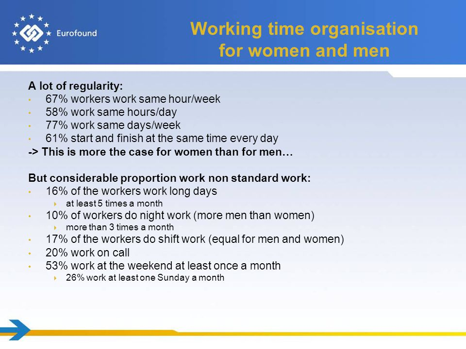 Work life balance 18% of workers have problems with work-life balance  Men > women  esp.
