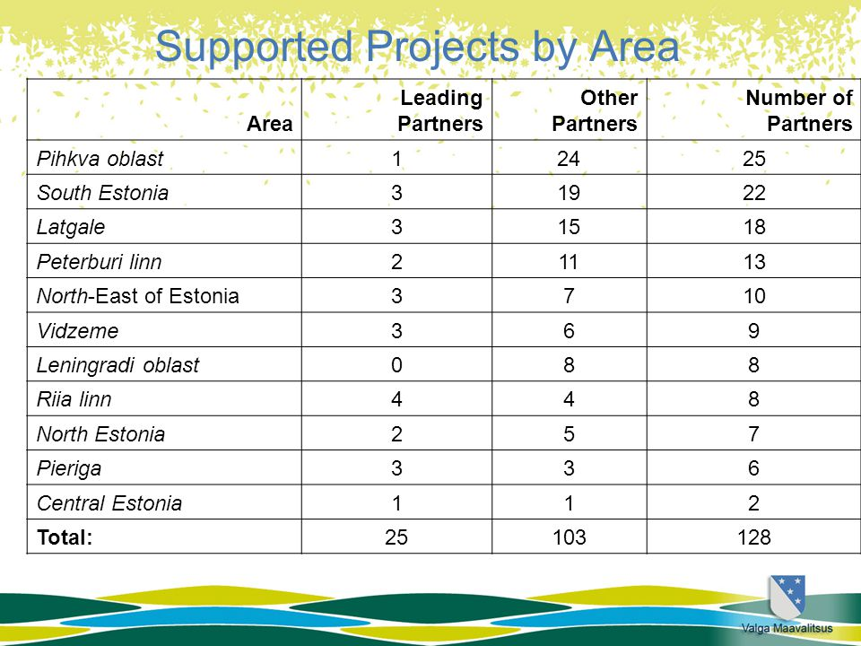 Supported Projects by Area Area Leading Partners Other Partners Number of Partners Pihkva oblast12425 South Estonia31922 Latgale31518 Peterburi linn21