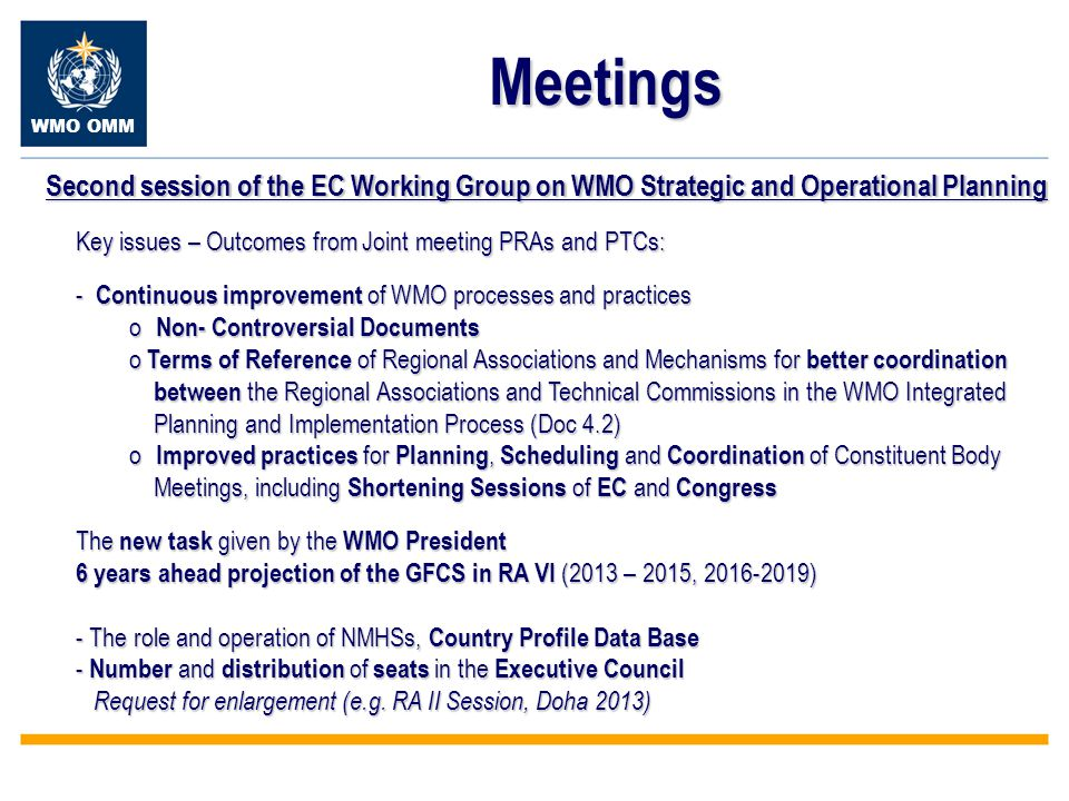 WMO OMM Meetings Second session of the EC Working Group on WMO Strategic and Operational Planning Key issues – Outcomes from Joint meeting PRAs and PTCs: - Continuous improvement of WMO processes and practices o Non- Controversial Documents o Terms of Reference of Regional Associations and Mechanisms for better coordination between the Regional Associations and Technical Commissions in the WMO Integrated between the Regional Associations and Technical Commissions in the WMO Integrated Planning and Implementation Process (Doc 4.2) Planning and Implementation Process (Doc 4.2) o Improved practices for Planning, Scheduling and Coordination of Constituent Body Meetings, including Shortening Sessions of EC and Congress Meetings, including Shortening Sessions of EC and Congress The new task given by the WMO President 6 years ahead projection of the GFCS in RA VI (2013 – 2015, 2016-2019) - The role and operation of NMHSs, Country Profile Data Base - Number and distribution of seats in the Executive Council Request for enlargement (e.g.
