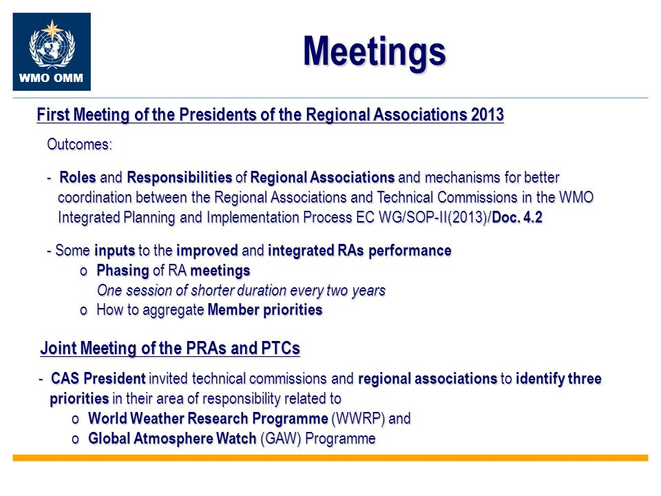 WMO OMM Meetings First Meeting of the Presidents of the Regional Associations 2013 Outcomes: - Roles and Responsibilities of Regional Associations and mechanisms for better coordination between the Regional Associations and Technical Commissions in the WMO coordination between the Regional Associations and Technical Commissions in the WMO Integrated Planning and Implementation Process EC WG/SOP-II(2013)/ Doc.
