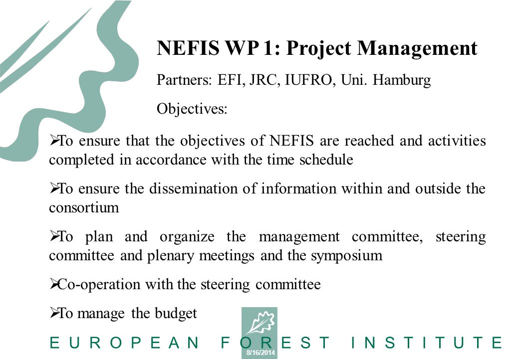 8/16/2014 E U R O P E A N F O R E S T I N S T I T U T E WP1 partners EFI – responsible for overall coordination and finances JRC – S&T link between the project developments and the needs from other Commission services.