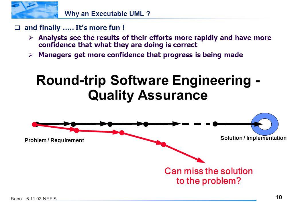 10 Bonn – 6.11.03 NEFIS Why an Executable UML .  and finally.....