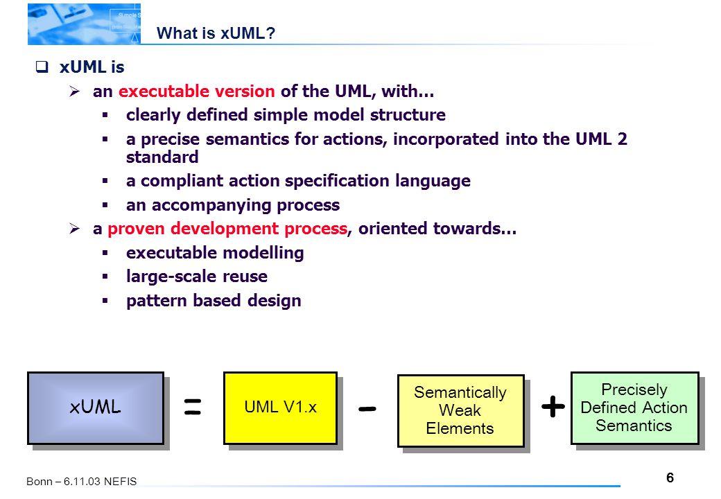 6 Bonn – 6.11.03 NEFIS What is xUML? UML V1.x xUML = Semantically Weak Elements Semantically Weak Elements - Precisely Defined Action Semantics +  xU