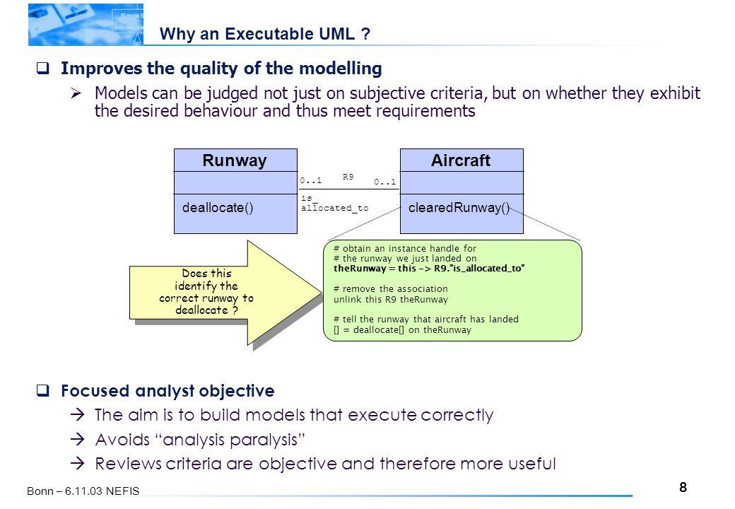8 Bonn – 6.11.03 NEFIS Why an Executable UML .
