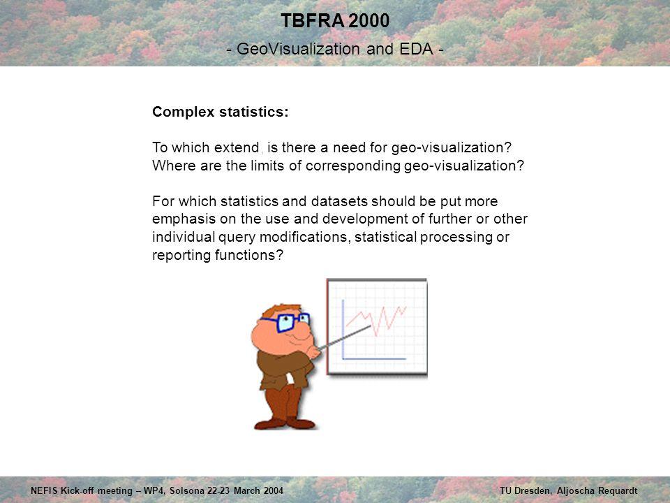 TBFRA 2000 - GeoVisualization and EDA - NEFIS Kick-off meeting – WP4, Solsona 22-23 March 2004 TU Dresden, Aljoscha Requardt