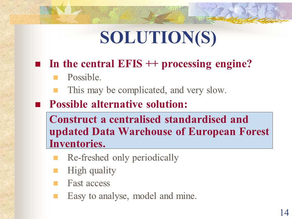 14 SOLUTION(S) In the central EFIS ++ processing engine.