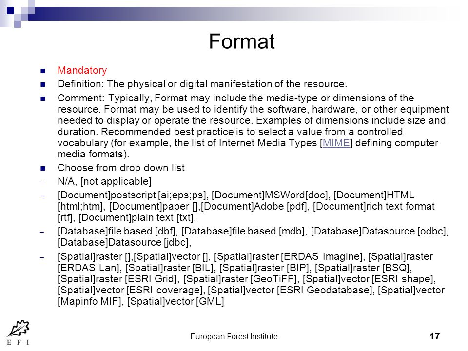 European Forest Institute17 Format Mandatory Definition: The physical or digital manifestation of the resource.
