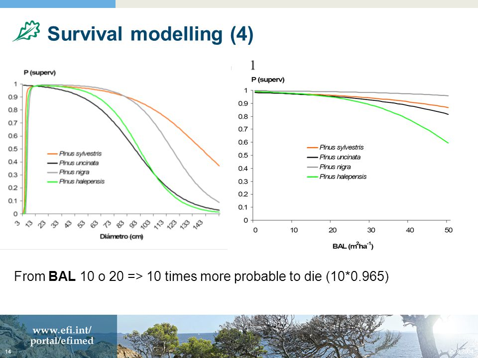 20.8.200414 Survival modelling (4) From BAL 10 o 20 => 10 times more probable to die (10*0.965)
