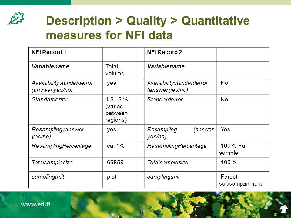 Description > Quality > Quantitative measures for NFI data 4 NFI datasets with 1 metadata record; 3 NFI datasets with separate metadata records for di