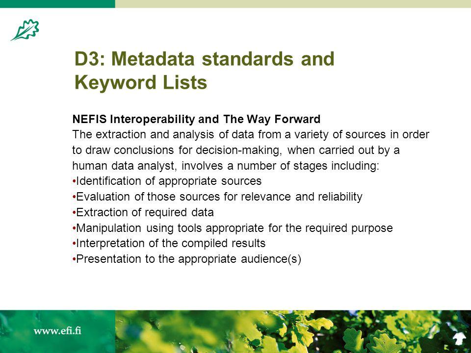 Tim Green NEFIS Analysis of partner metadata records 15 November 2004