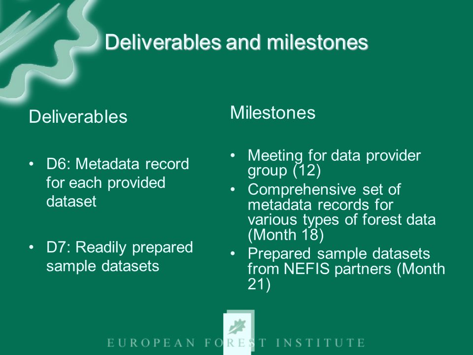 Deliverables and milestones Deliverables D6: Metadata record for each provided dataset D7: Readily prepared sample datasets Milestones Meeting for data provider group (12) Comprehensive set of metadata records for various types of forest data (Month 18) Prepared sample datasets from NEFIS partners (Month 21)