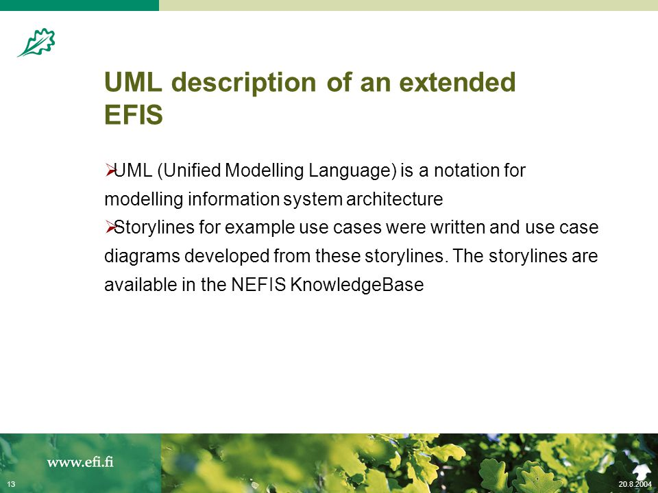 20.8.200413 UML description of an extended EFIS  UML (Unified Modelling Language) is a notation for modelling information system architecture  Story
