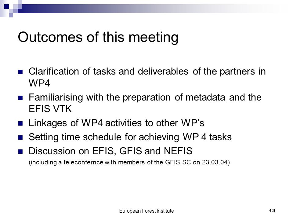 European Forest Institute13 Outcomes of this meeting Clarification of tasks and deliverables of the partners in WP4 Familiarising with the preparation of metadata and the EFIS VTK Linkages of WP4 activities to other WP's Setting time schedule for achieving WP 4 tasks Discussion on EFIS, GFIS and NEFIS (including a teleconfernce with members of the GFIS SC on 23.03.04)