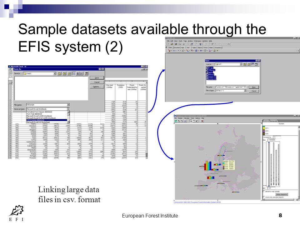European Forest Institute8 Sample datasets available through the EFIS system (2) Linking large data files in csv.