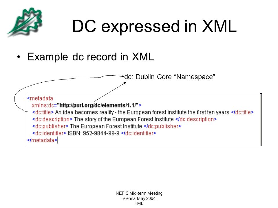 """NEFIS Mid-term Meeting Vienna May 2004 FML DC expressed in XML Example dc record in XML dc: Dublin Core """"Namespace"""""""