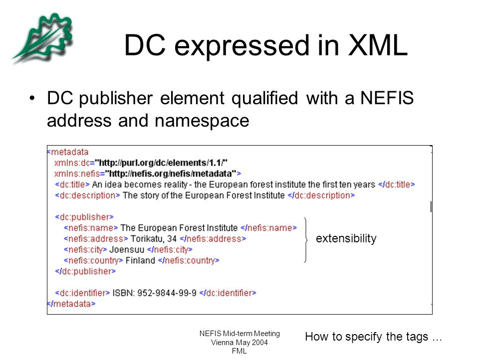 NEFIS Mid-term Meeting Vienna May 2004 FML DC expressed in XML DC publisher element qualified with a NEFIS address and namespace extensibility How to