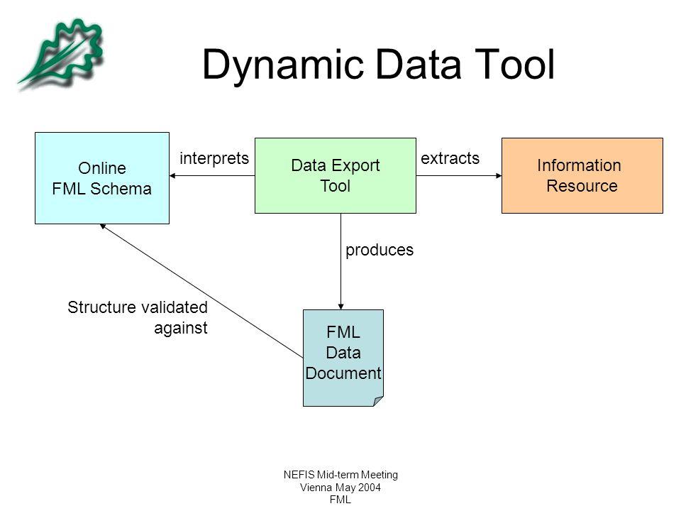NEFIS Mid-term Meeting Vienna May 2004 FML Dynamic Data Tool Online FML Schema Data Export Tool FML Data Document Information Resource interpretsextra