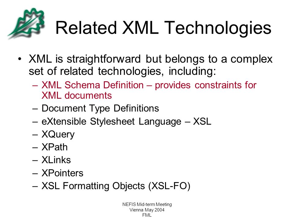 NEFIS Mid-term Meeting Vienna May 2004 FML Related XML Technologies XML is straightforward but belongs to a complex set of related technologies, inclu