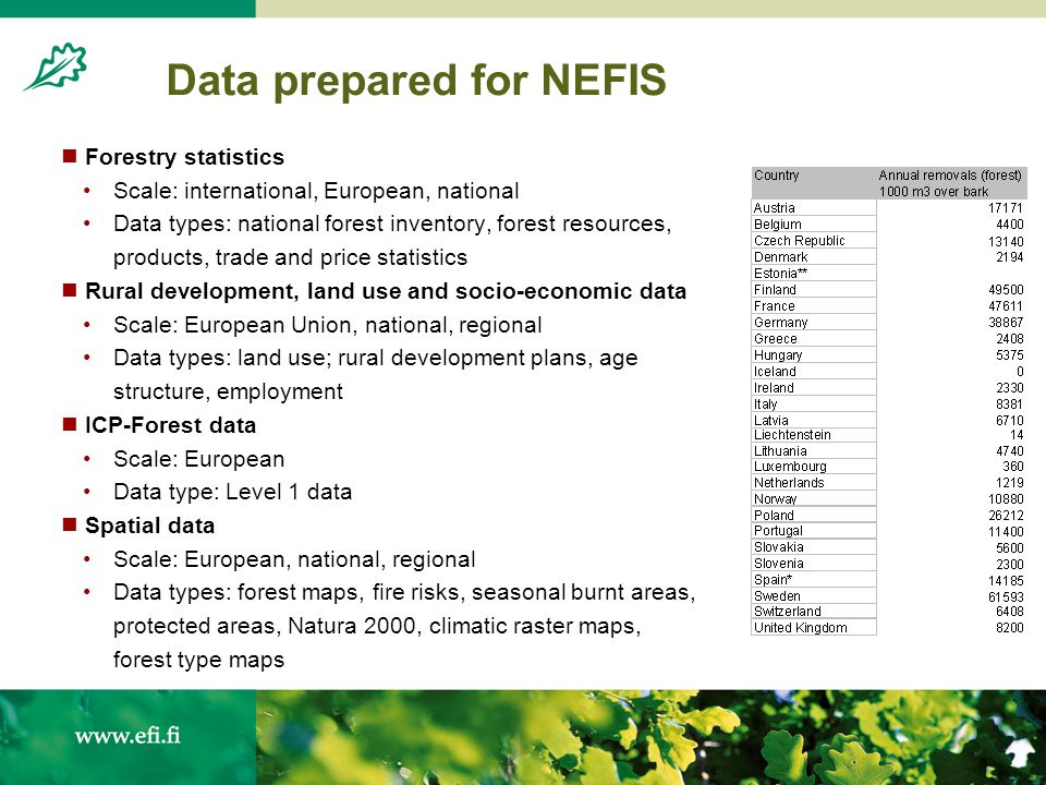 Data prepared for NEFIS Forestry statistics Scale: international, European, national Data types: national forest inventory, forest resources, products