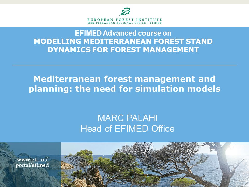 EFIMED Advanced course on MODELLING MEDITERRANEAN FOREST STAND DYNAMICS FOR FOREST MANAGEMENT Mediterranean forest management and planning: the need for simulation models MARC PALAHI Head of EFIMED Office