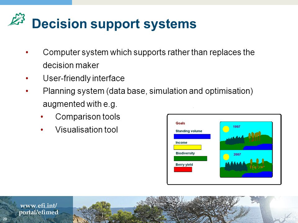 20.8.200420 Decision support systems Computer system which supports rather than replaces the decision maker User-friendly interface Planning system (data base, simulation and optimisation) augmented with e.g.
