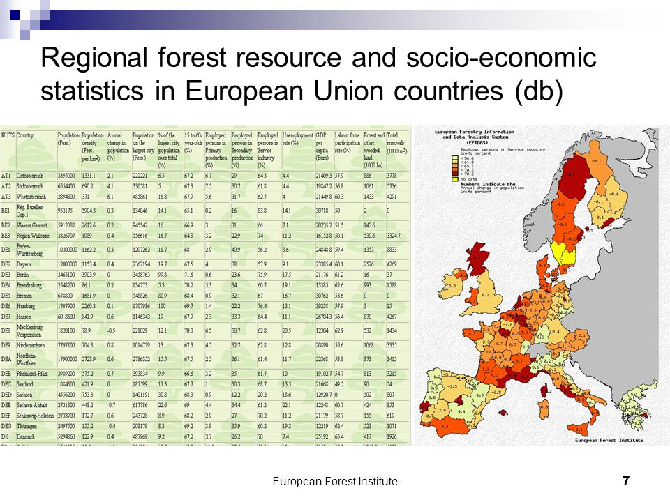 European Forest Institute8 Forest research capcities in 18 European countries