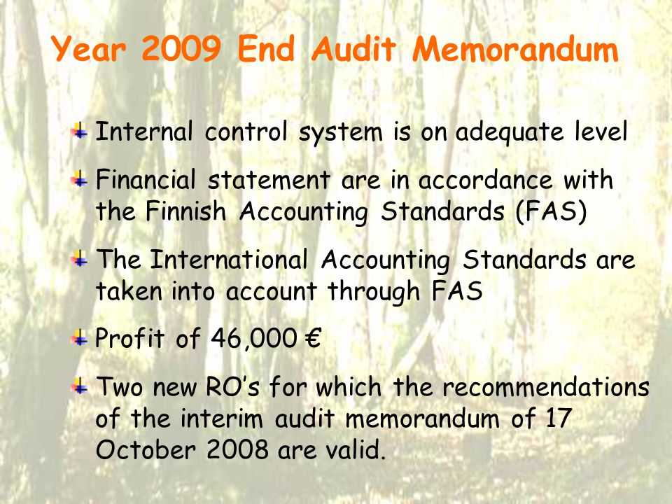 Year 2009 End Audit Memorandum Internal control system is on adequate level Financial statement are in accordance with the Finnish Accounting Standards (FAS) The International Accounting Standards are taken into account through FAS Profit of 46,000 € Two new RO's for which the recommendations of the interim audit memorandum of 17 October 2008 are valid.