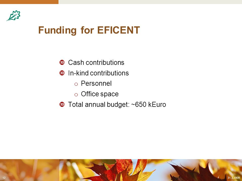Funding for EFICENT  Cash contributions  In-kind contributions o Personnel o Office space  Total annual budget: ~650 kEuro 31.3.200912