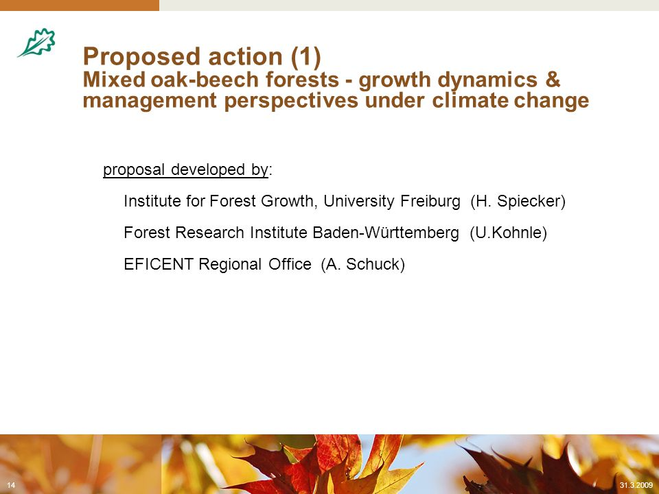 Proposed action (1) Mixed oak-beech forests - growth dynamics & management perspectives under climate change proposal developed by: Institute for Forest Growth, University Freiburg (H.